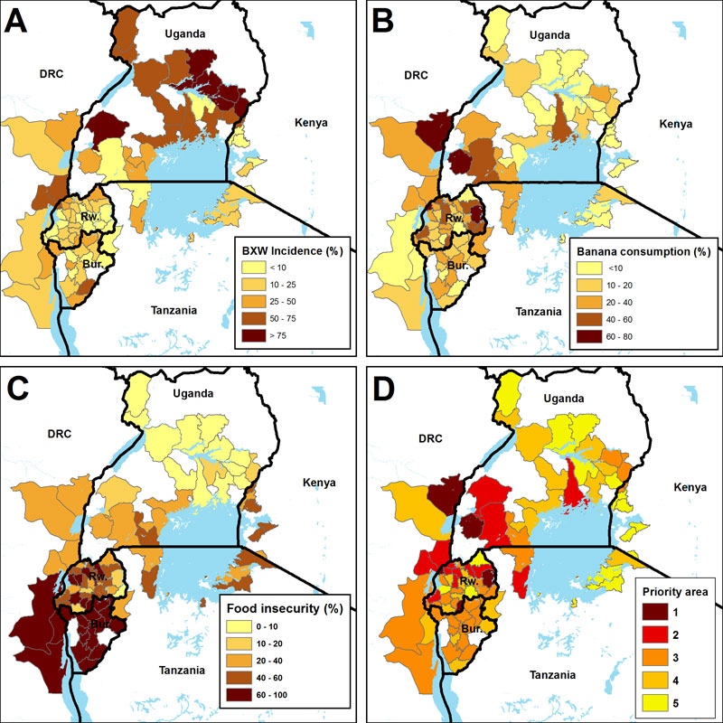 Banana disease (BXW) incidence (A), banana consumption as % of caloric intake (B) and food insecurity (C) define the prioritization areas (D) in targeting BXW.