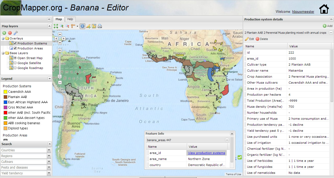 Screenshot of the 'Banana Mapper' that shows the main banana production systems in Africa