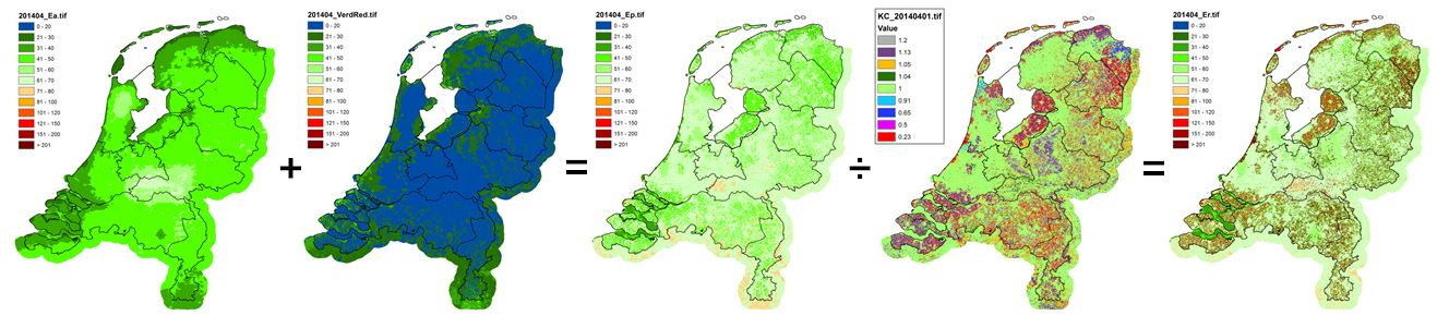 Afleiden Verdamping Nederland april-september 2014